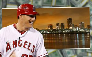 Angels star Mike Trout and the Long Beach shorefront (Credit: Getty Images)