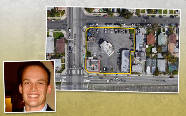 Chris Elsey and the property at 3760-3764 S. Normandie Avenue (Credit: LinkedIn and Google Maps)
