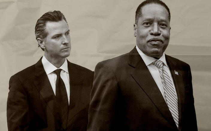 Developers, investors and brokers have poured $ 513,000 into Larry Elder's campaign to topple Governor Gavin Newsom (Getty).