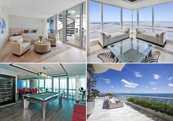 Clockwise From Top Left Bedroom At 1500 Ocean Drive Living Room Four Seasons Residences Terrace Continuum South Beach Entertainment Area
