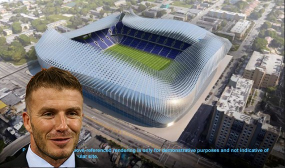 David Beckham and a proposed rendering of the stadium