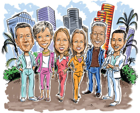 Jorge Uribe, Judy Zeder, Jill Hertzberg, Jill Eber, Nelson Gonzalez and Eloy Carmenate took the top spots in 2015. (illustration by Guy Parsons)