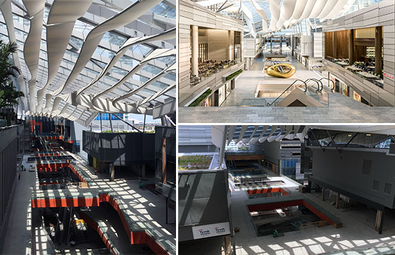 Photos of construction and a rendering of Brickell City Centre's retail portion