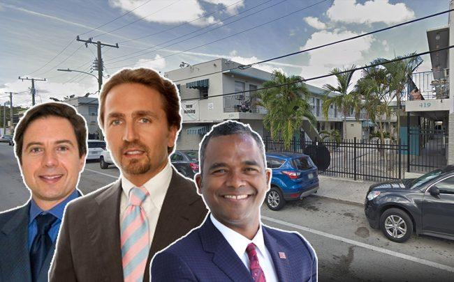 L-R: Stefano Garofoli, Costantino Cicchelli and Frank Rodriguez Melo and a photo of 419-429 Northwest Eighth Street (Credit: BrickOne Group and Google Maps)