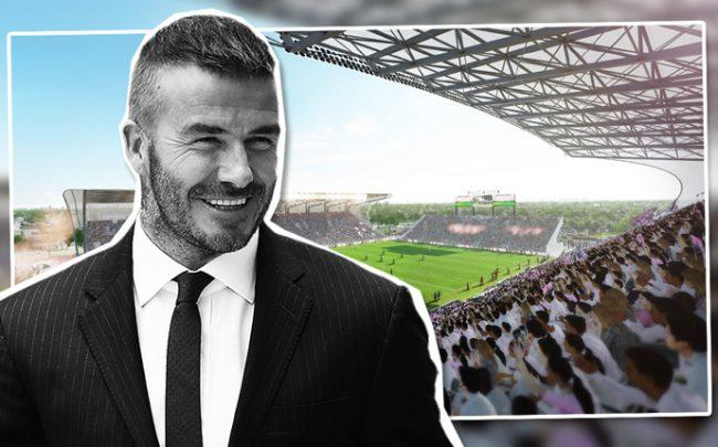 David Beckham with a rendering of Lockhart Stadium (Credit: Getty Images and Pro Soccer USA)