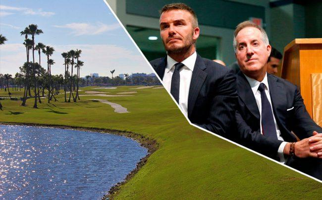 David Beckham, Jorge Mas and the golf course at International Links Melreese Country Club (Credit: Getty Images, International Links)
