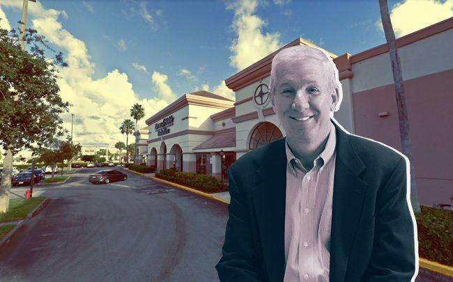 Boynton Commons and InvenTrust Properties Corp CEO Tom McGuinness (Credit: Google Maps and InvenTrust)