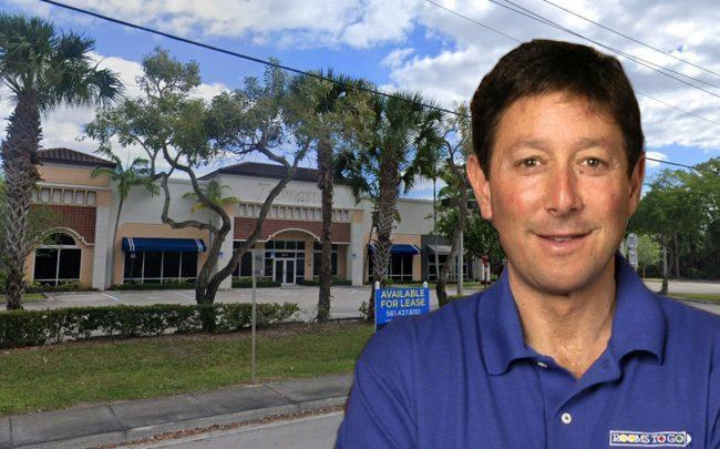 Rooms to Go CEO Jeffrey Seaman and 9465 Glades Road (Credit: Google Maps)