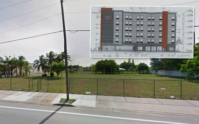 321 North Federal Highway and a rendering of the project (Credit: Google Maps)