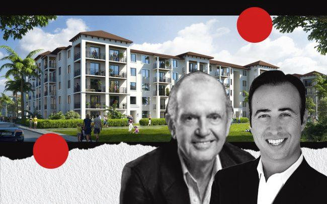 Rendering of the Parks at Delray with Key International founder Jose Ardid and 13th Floor managing principal Arnaud Karsent (S+A via Key International)