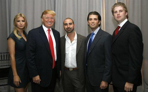 Alex Sapir (center) with Ivanka Trump, President Donald Trump, Donald Trump Jr. and Eric Trump (Getty)