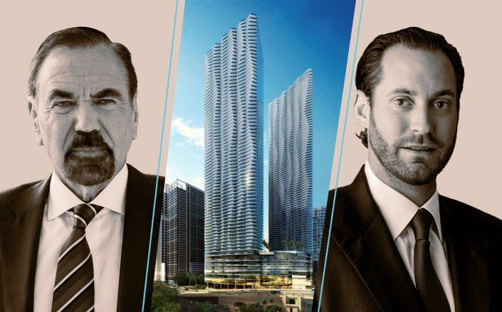 Renderings of the One Brickell project with Jorge Pérez  and Jon Paul Pérez (Photos via Wikipedia Commons, Related)