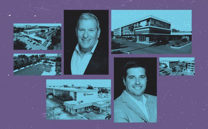 The Estate Companies Managing Principal Robert Suris and Principal Jeffrey Ardizon with the existing Ramada Inn property and renderings of Alture Westland multifamily building (The Estate Companies)