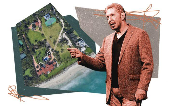 Larry Ellison and 12525 Seminole Beach Road (Getty, Google Maps)