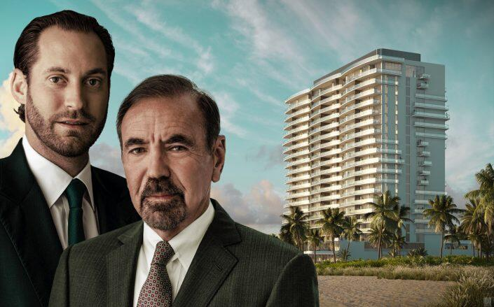 Jorge Perez and Jon Paul Perez with a rendering of Solemar (Related)