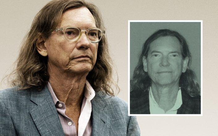 Developer Bill Hutchinson, seen here in court and alongside his mugshot (Getty, Highland Park Police Department)