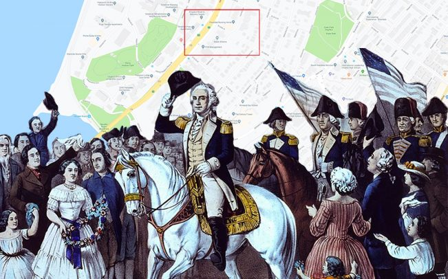 A depiction of George Washington entering New York after British armies left the city in 1783, and the intersection of West 230th Street and Fairfield Avenue (Credit: Getty Images, Google Maps)