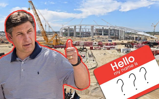 SoFi CEO Anthony Noto and the Los Angeles Stadium and Entertainment District under construction in May 2019 (Credit: LASED, Getty Images)