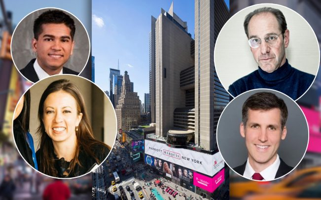 Clockwise from top left: Starwood Capital Group's Akshay Goyal, BD Hotels' Richard Born, HVS president and CEO Stephen Rushmore and Apollo's Tracey Gamble and the Marriott Marquis