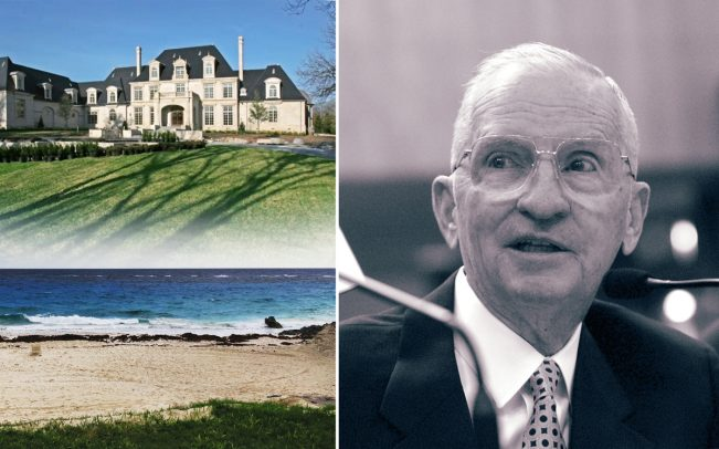 Ross Perot with his Strait Lane mansion in Dallas and Tucker's Town in Bermuda (Credit: Getty Images, Google Maps, and Douglas Newby)
