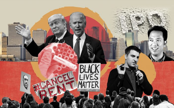 Clockwise from left: Donald Trump, Joe Biden, Airbnb CEO Brian Chesky, Opendoor CEO Eric Wu, Black Lives Matter protests (Illustration by The Real Deal)