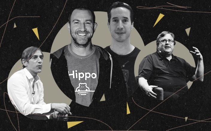 Zynga founder Mark Pincus, hippo founders Assaf Wand and Eyal Navon and LinkedIn co-founder Reid Hoffman (Getty, LinkedIn)