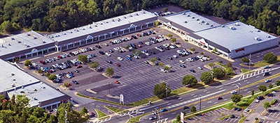 Aerial view of an Armstrong shopping center