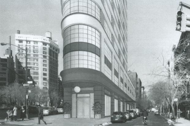 A rendering of the planned tower at Sixth Avenu and Broome Street (credit: DNAinfo)