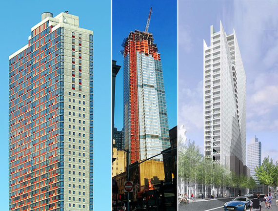 From left: the Brooklyner at 111 Lawrence Street, the Avalon at 66 Rockwell Place, BAM South tower