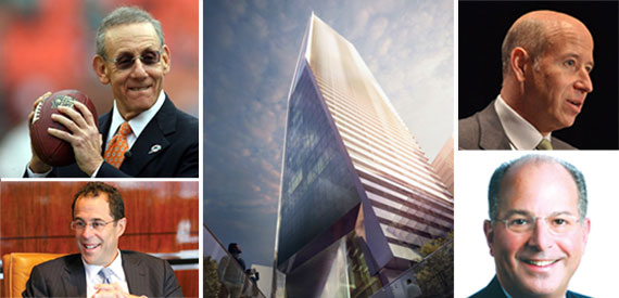Clockwise from top left: Stephen Ross, a rendering of the South Tower (courtesy Kohn Pederson Fox), Barry Sternlicht, Jeffrey Lenobel and Jeff Blau