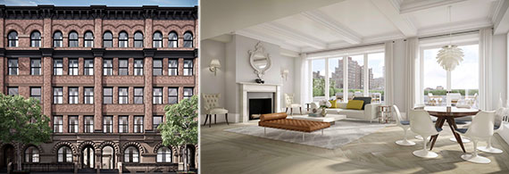 Renderings of the exterior and penthouse at 182 West 82nd Street