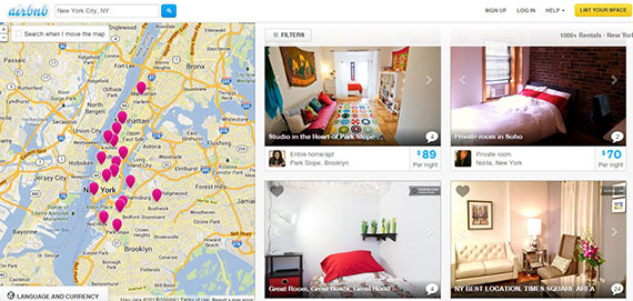 Airbnb's New York City page