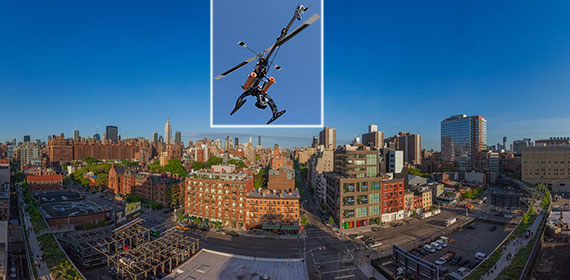 A drone camera and the view from HFZ Capital's 505 West 19th Street