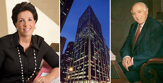 From left: Jane Goldman, 1185 Sixth Avenue and a painting of Sol Goldman