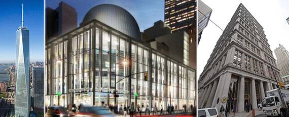 From left: One World Trade Center, rendering of the Fulton Street Transit Center and 195 Broadway