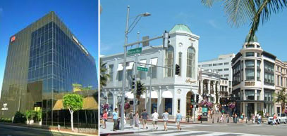 From left: 9440 Santa Monica Boulevard and Rodeo Drive in Beverly Hills, Calif.