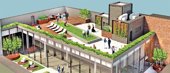 A rendering of the rooftop bocce court at 635 Avenue of the Americas