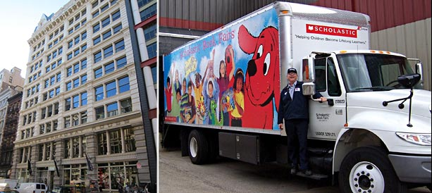 From left: 555 Broadway and a Scholastic truck