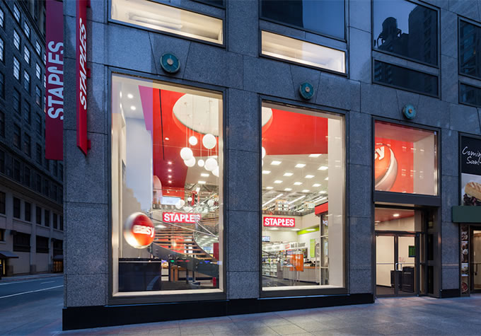 A Staples storefront in New York City