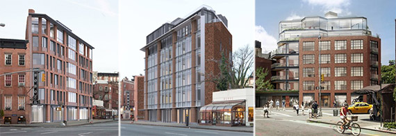 From left: New rendering and previous renderings of 130 Seventh Avenue