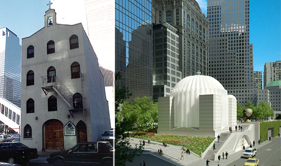 Former church at 150 Cedar Street and rendering of 130 Liberty Street