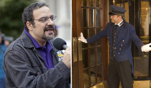 From left: Hector Figueroa and a doorman