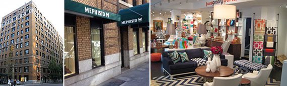 From left: 1097 Madison Avenue, Mephisto at 1089 Madison Avenue and the interior of Jonathan Adler at 1097 Madison Avenue