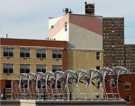 Wind turbines atop a New York City building