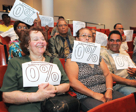 Rent-stabilized tenants pushed for a full rent freeze ahead of Monday night's vote