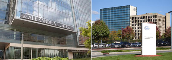 From left: Alexandria Center for Life Sciences and former Roche campus in Nutley, NJ