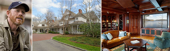 From left: Ron Howard, the main house at his Westchester County estate and interior