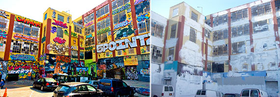 5Pointz before and after the building was whitewashed