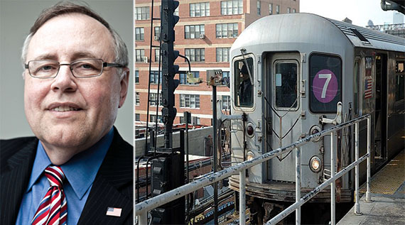 From left: Steven Spinola and the no. 7 subway line