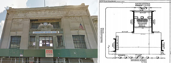 From left: Exterior of 1024 Gates Avenue and a zoning diagram of the site